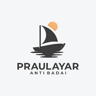 Logo de silhouette de voilier et de soleil