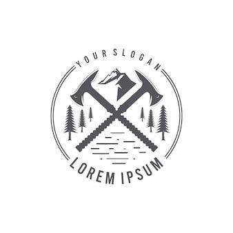 Logo de silhouettes haches modernes