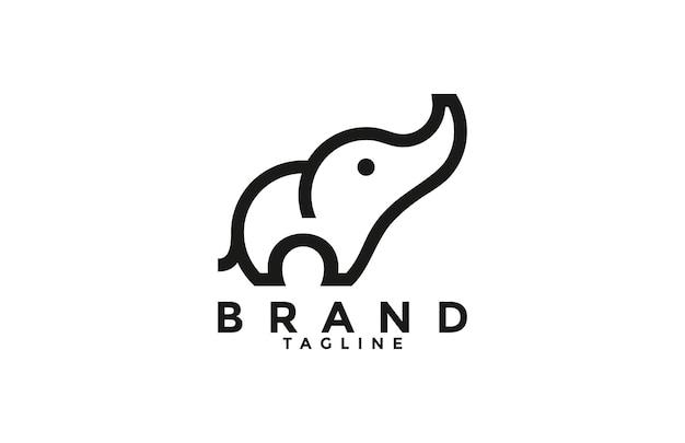 Logo simple d'éléphant solide