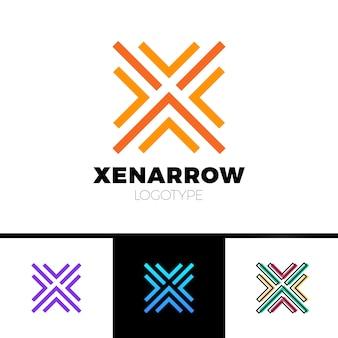 Logo simple de la lettre x flèche jusqu'à logotype de ligne