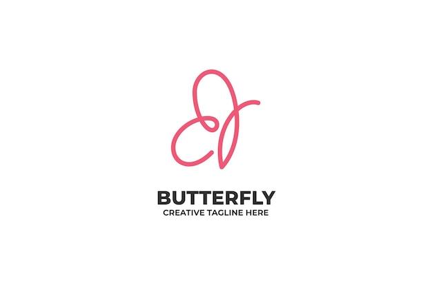Logo simple d'une ligne de papillon rose