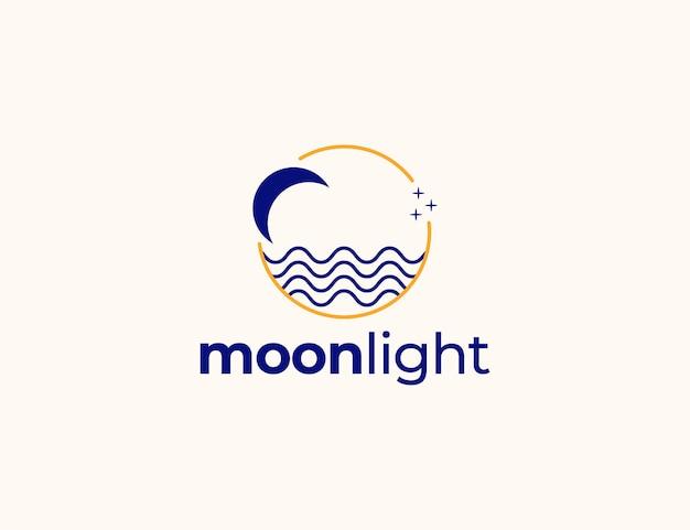 Logo simple moderne de lune et de vague avec le cercle