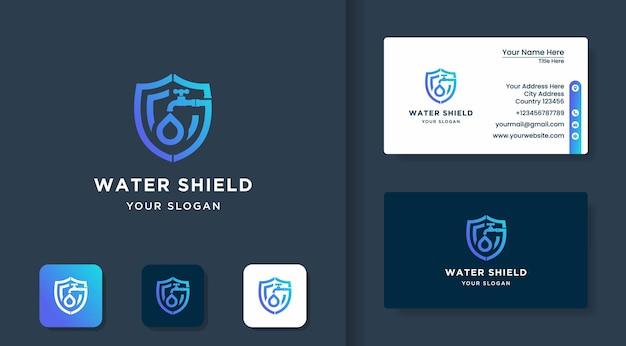 Logo simple de sécurité de l'eau ou de l'huile et carte de visite minimaliste