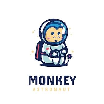 Logo singe astronaute style de mascotte simple.