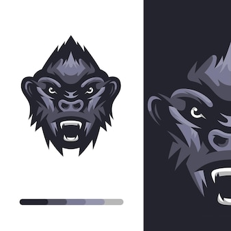 Logo de singe gorille en colère
