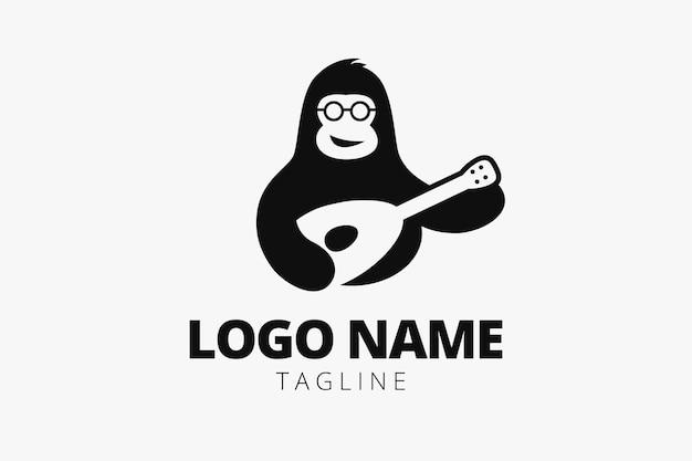 Logo de singe de guitare, parfait pour votre identité d'entreprise