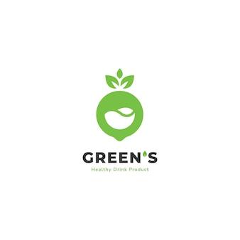 Logo de smoothie de boisson de jus écologique de légumes et de fruits verts de nature