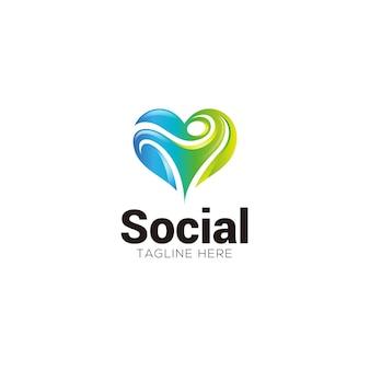Logo social abstrait humain et coeur