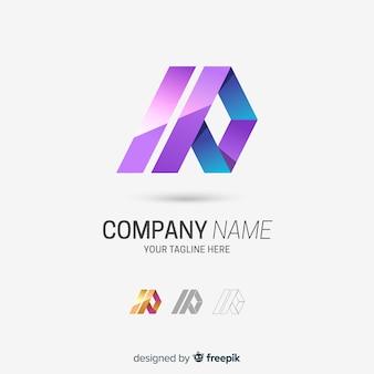 Logo de société abstrait tridimensionnel dégradé