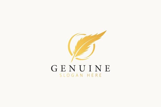 Logo de société d'affaires de cabinet d'avocats juridiques de luxe de plume d'or