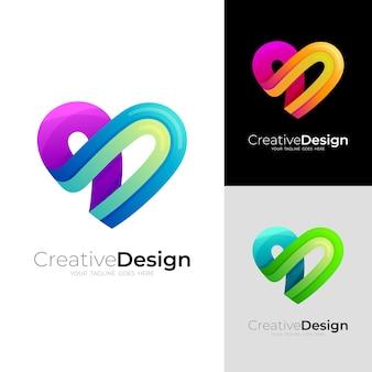 Logo de soins d'amour avec un design simple social