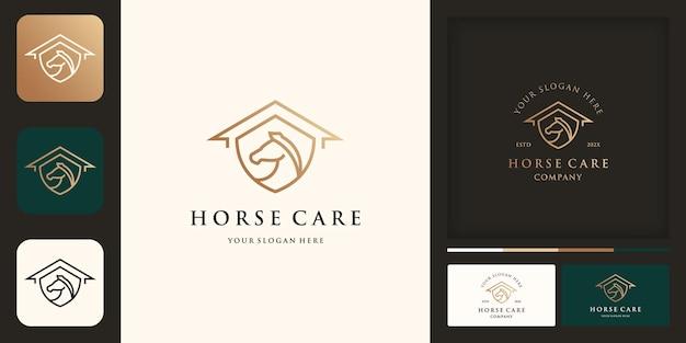 Logo de soins aux chevaux, ferme équestre, maison de bouclier et carte de visite