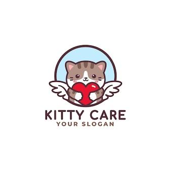 Logo de soins de coeur étreignant chat mignon