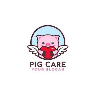 Logo de soins de coeur mignon cochon étreignant