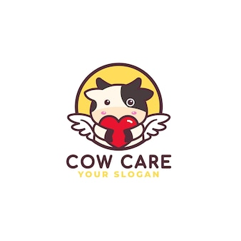 Logo de soins de coeur de vache mignonne