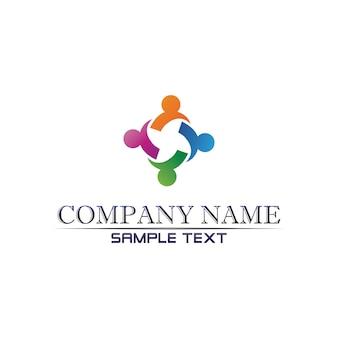 Logo de soins communautaires personnes dans le concept de vecteur de cercle
