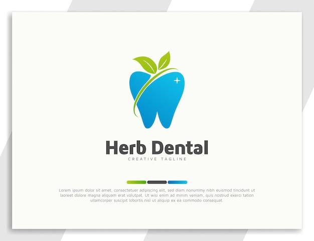 Logo de soins dentaires avec illustration de feuilles