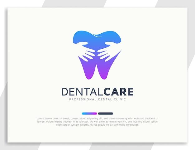 Logo de soins dentaires avec illustration main et coeur