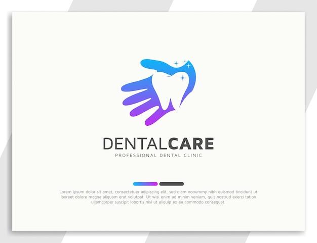 Logo de soins dentaires avec illustration de la main