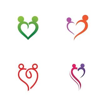 Logo de soins familiaux et vecteur de modèle de symbole