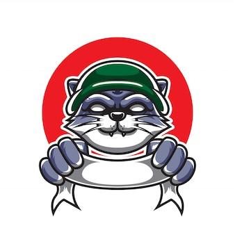 Logo de soldat de chat e sport