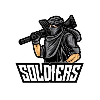 Logo de soldat guerrier esport