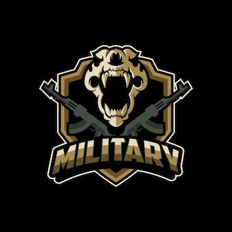 Logo de soldat mascotte militaire crâne
