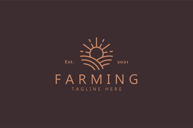 Logo soleil et agriculture isolé sur brun doux