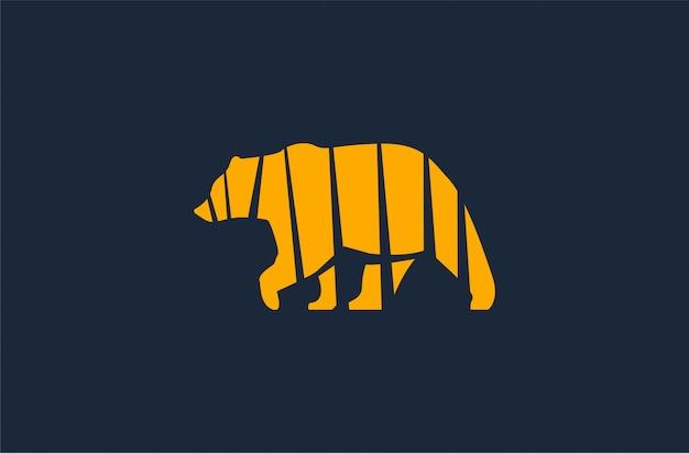 Logo sophistiqué ours jaune