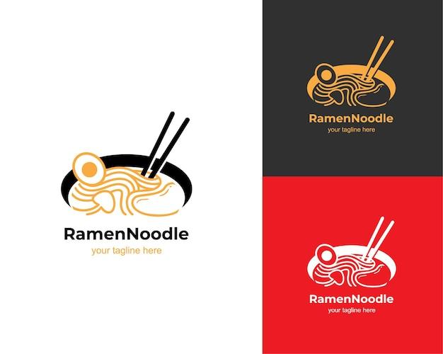 Logo de soupe de nouilles ramen miso
