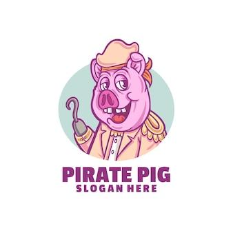 Logo de sourire de cochon pirate