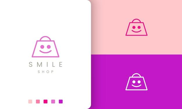 Logo de sourire de sac à provisions dans un style simple et moderne