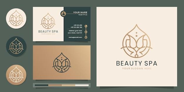 Logo de spa de beauté féminine conception de ligne rose fleur abstraite de luxe huile essentielle salon de beauté art en ligne soins de la peau cosmétiques produits de yoga et de spa logo et carte de visite vecteur premium