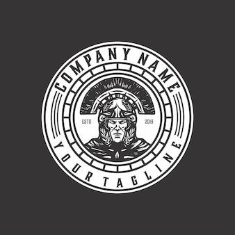 Logo spartiate en colère modèle vecteur