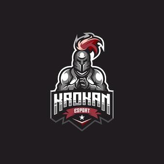 Logo spartiate héros avec vecteur