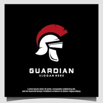 Logo spartiate logo casque spartiate vecteur