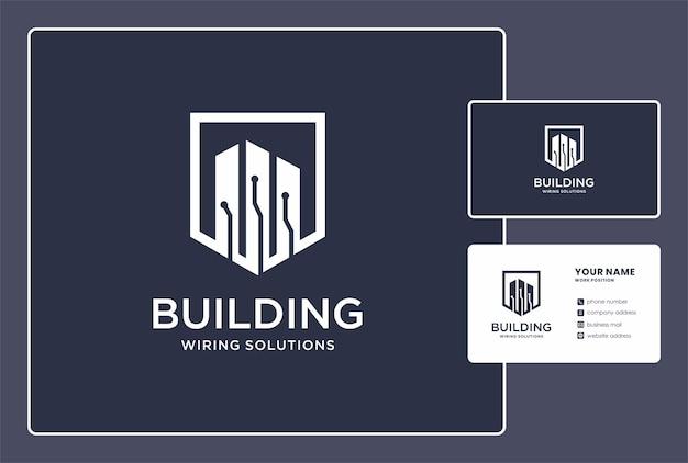 Logo de spécialiste du câblage pour l'immobilier et l'appartement avec conception de carte de visite.