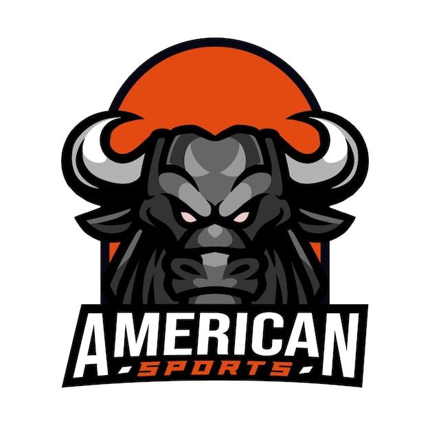 Logo de sport américain de taureau noir