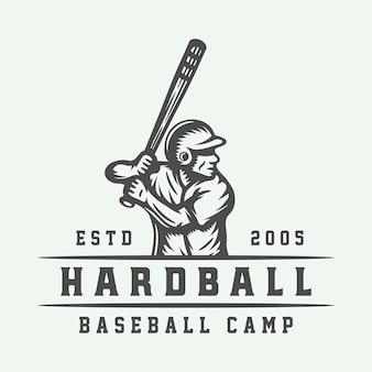 Logo de sport de baseball vintage, emblème, insigne, marque, étiquette. vecteur d'illustration d'art graphique monochrome
