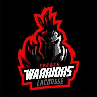 Logo de sport de crosse des guerriers