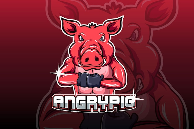 Logo de sport e cochon en colère