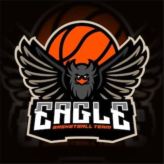 Logo de sport d'équipe de basket-ball eagle