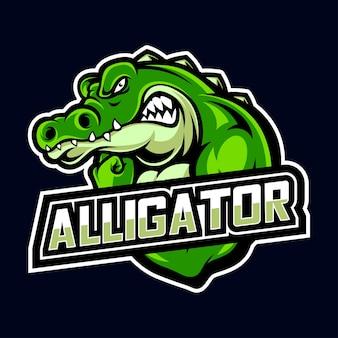 Logo sport et esport de crocodile