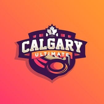 Logo de sport de frisbee ultime