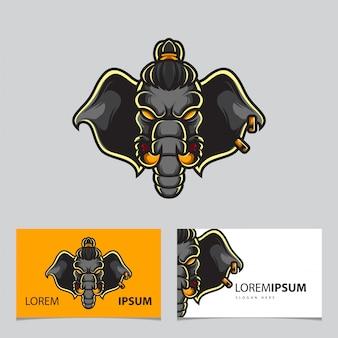 Logo de sport de guerrier éléphant