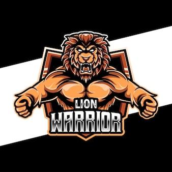 Logo de sport de guerrier lion