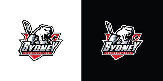 Logo de sport de hockey grizzly vecteur premium