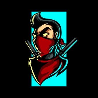 Logo de sport homme ninja urbain