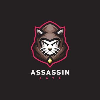 Logo de sport de jeu de chat