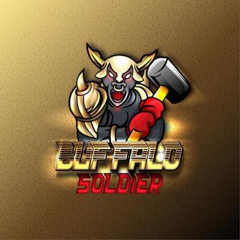 Logo de sport mascotte buffalo. effet de texte modifiable